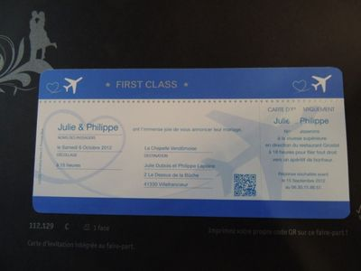 faire part mariage original billet d' avion